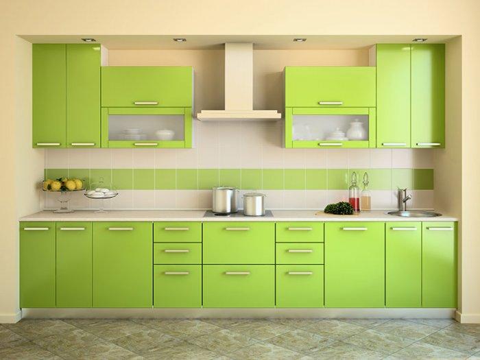 Кухня салатового цвета фото