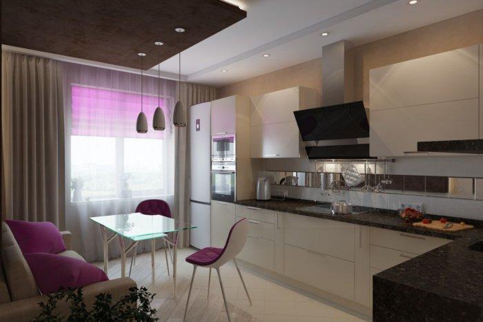 Кухня дизайн 12 метров с диваном и балконом
